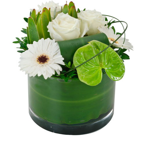 Designer Arrangement in a Low Glass Vase