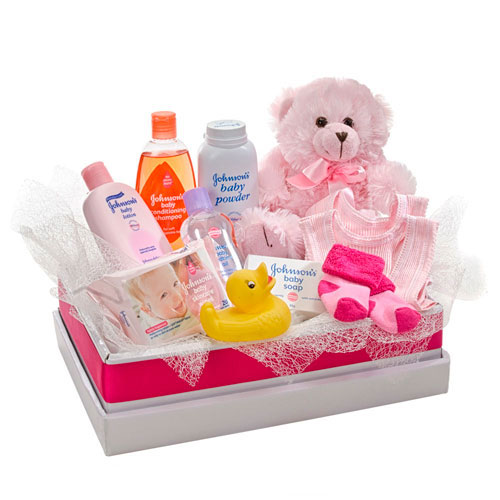 Pink box of girl baby items