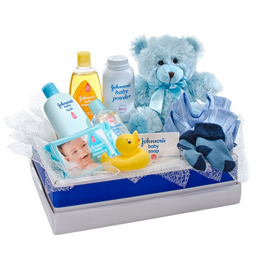 Blue box of boy baby items
