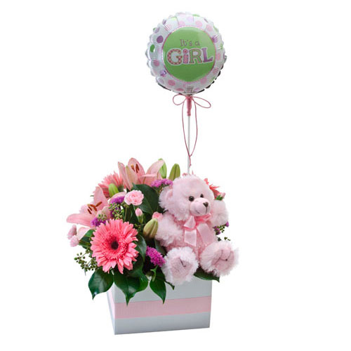 Box of flowers with balloon for girls