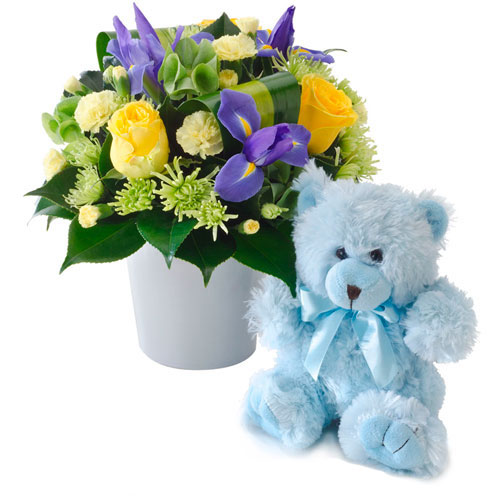 Blue Floral arrangement with teddy bear