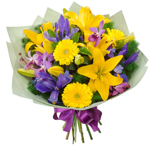 Bright mixed bouquet of flowers