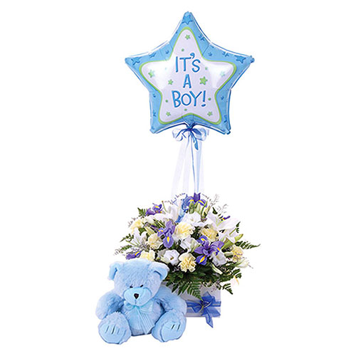Its a boy balloon with teddy bear and flowers