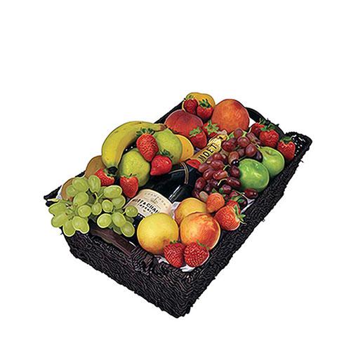 Moet and basket of fruit