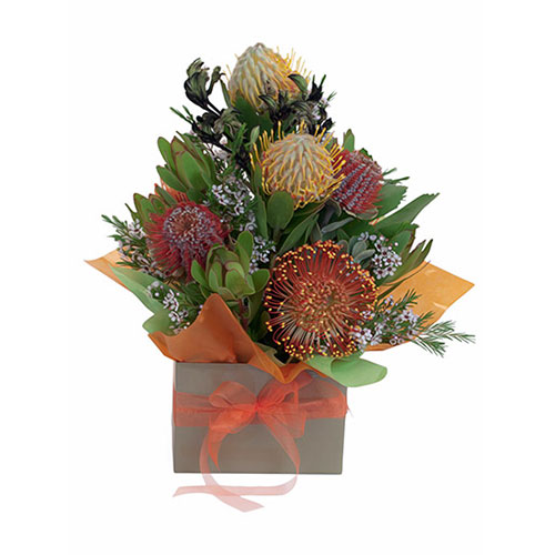 Boxed presentation of native flowers