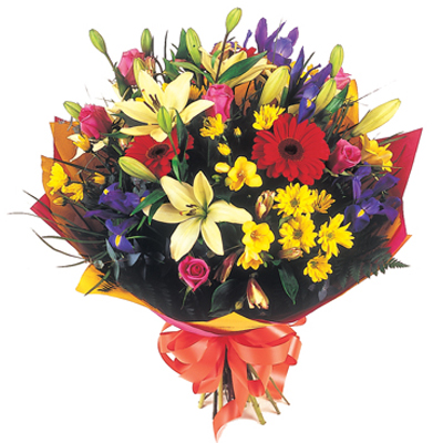 Bright bouquet of mixed flowers