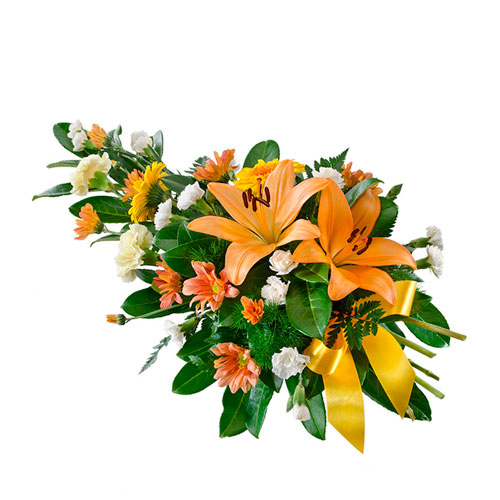 Sympathy spray of yellow and orange flowers