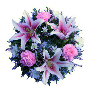 Sympathy wreath containing oriental liliums and sim carnatio