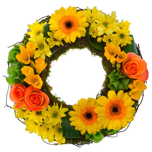 Colourful cluster wreath suitable for Service