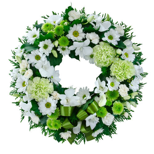 Green and white wreath suitable for Service
