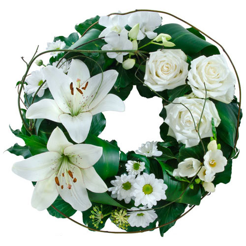Green and white cluster wreath suitable for service.