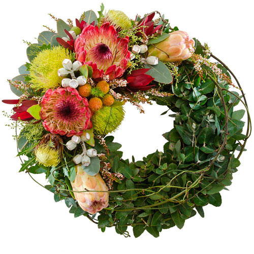 Indigenous flowers in a wreath