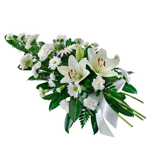 Spray of white flowers suitable for service