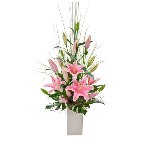 Oriental lilies in vase