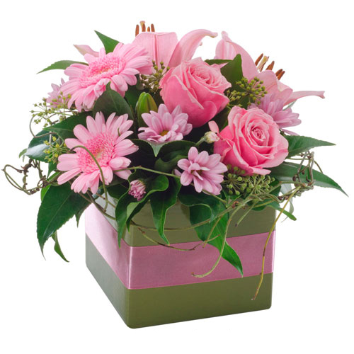 Petite Box pink flower arrangement