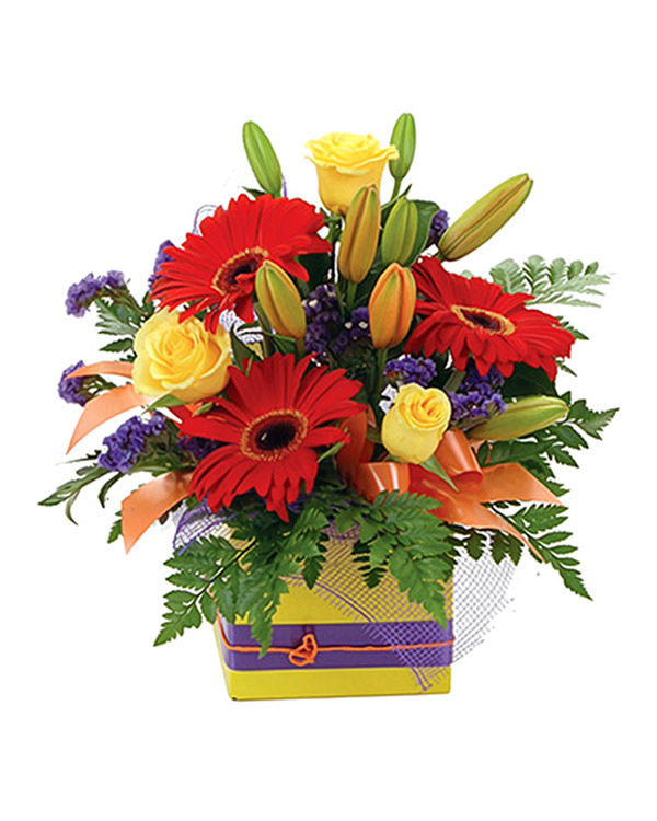 Bright box arrangement including gerberas, roses and asiatic lillies